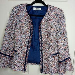 Tahari Multi-Color Tweed Jacket- 12